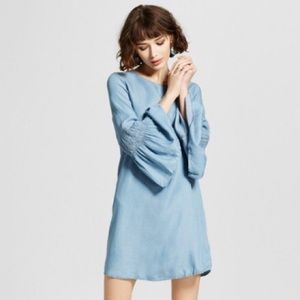 Chambray Ruched Bell Sleeve Dress